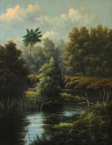 Valentine Delawarr. 'Mullet Creek Near Dapto, Illawarra', c.1890. Oil on board, 45 x 35 cm